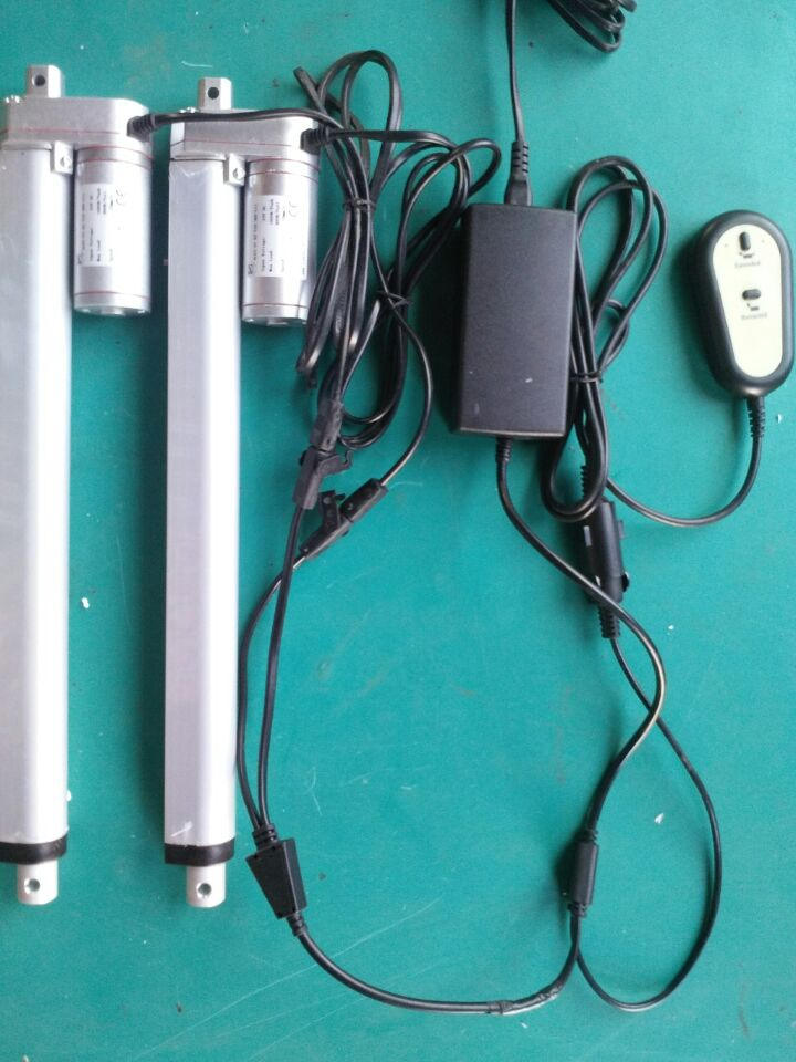 US $98 5  12 v 450mm stroke remote control linear actuator ,Bahung 2pcs  tubular linear actuator with control box /power supply 1set-in DC Motor  from