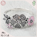 High Quality Newest Arrival Popular European Love Pink Enamel  925 Sterling Silver Flower Ring