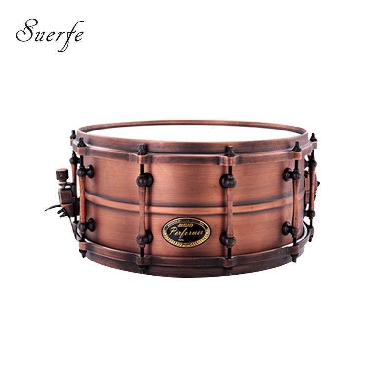 suerte high grade 14 6 5 size snare drum polyester drumhead copper shell instrumentos musicais. Black Bedroom Furniture Sets. Home Design Ideas