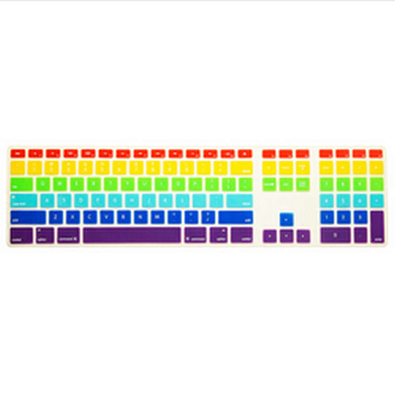 Rainbow Computer Desktop Silicone keyboard Cover Skin Protector with a numeric keypad 10 ...