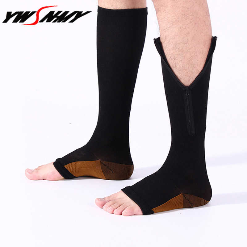 8303db31f4 NEW 2 Pairs Zipper Sox Compression Socks Unisex Zipper Leg Support Knee  High Stockings Open Toe
