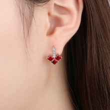 Everoyal Charm Women Silver 925 Stud Earrings Jewelry Female Trendy Crystal Red Heart Stud Earring For Girls Earring Accessories стоимость