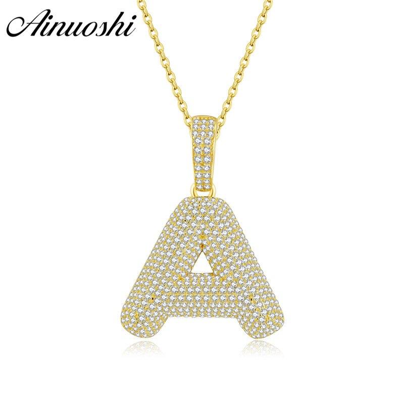 AINUOSHI 10 K or 26 lettre pendentif SONA diamant 25mm pendentif séparé cadeau pour femmes hommes A à Z Alphabet lettre initiale pendentif