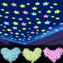 100 шт. светится в темноте 3D флуоресцентные наклейки со звездами, светильник, светящиеся игрушки для детей, декор для детской спальни, Рождественский подарок на день рождения