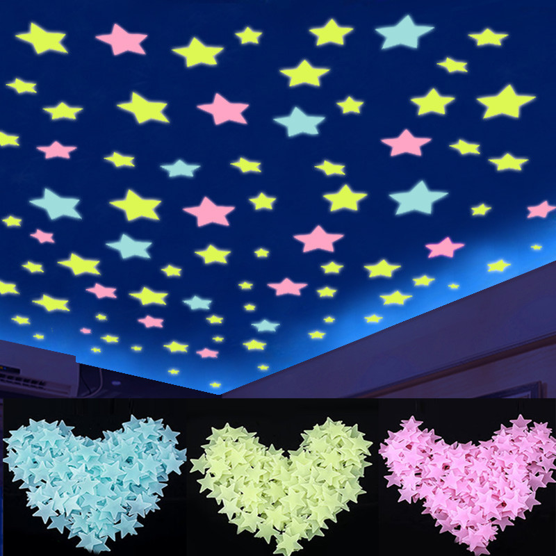100pcs Glow In The Dark 3D Fluorescent Stars Stickers Light Up Luminous Toys For Kid Baby Bedroom Decor Xmas Birthday Gift