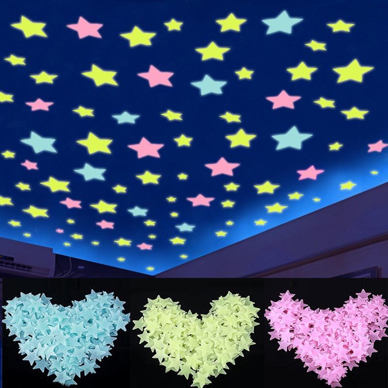 100pcs Glow In The Dark 3D Fluorescent Stars Stickers Light Up Luminous Toys For Kid Baby Bedroom Decor Xmas Birthday Gift
