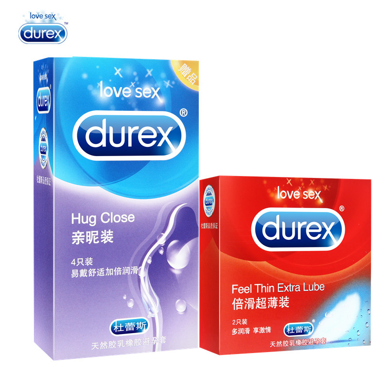 Durex Original 6 Pcs Condom 2 Styles 2 Boxes Feel Thin Extra Lube Super Slim Ultra Thin More Lubricant Hug Close Condoms for Men durex 24 pcs