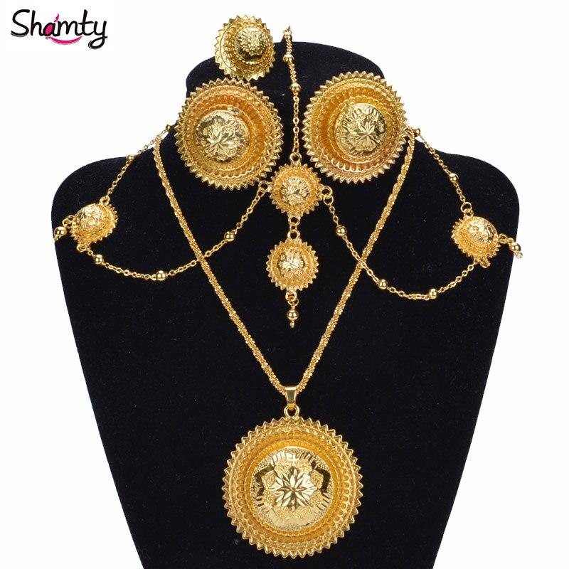 Shamty Trendy Habesha Style Svatební šperky Sady Ženy Africké Set Etiopské Nigérie Sudán Eritrea Keňa Svatební šperky A30025