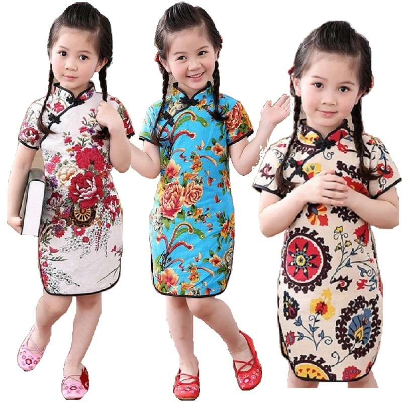 Rose Floral Baby Girls Qipao Dress Chinese Traditional Chi-pao Fashion New Year Children Dresses Kids Cheongsam Linen Clothes 1