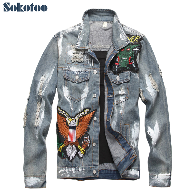 Sokotoo Men's slim American flag embroidered ripped jean jacket Trendy letters birds distressed denim top coat Outerwear