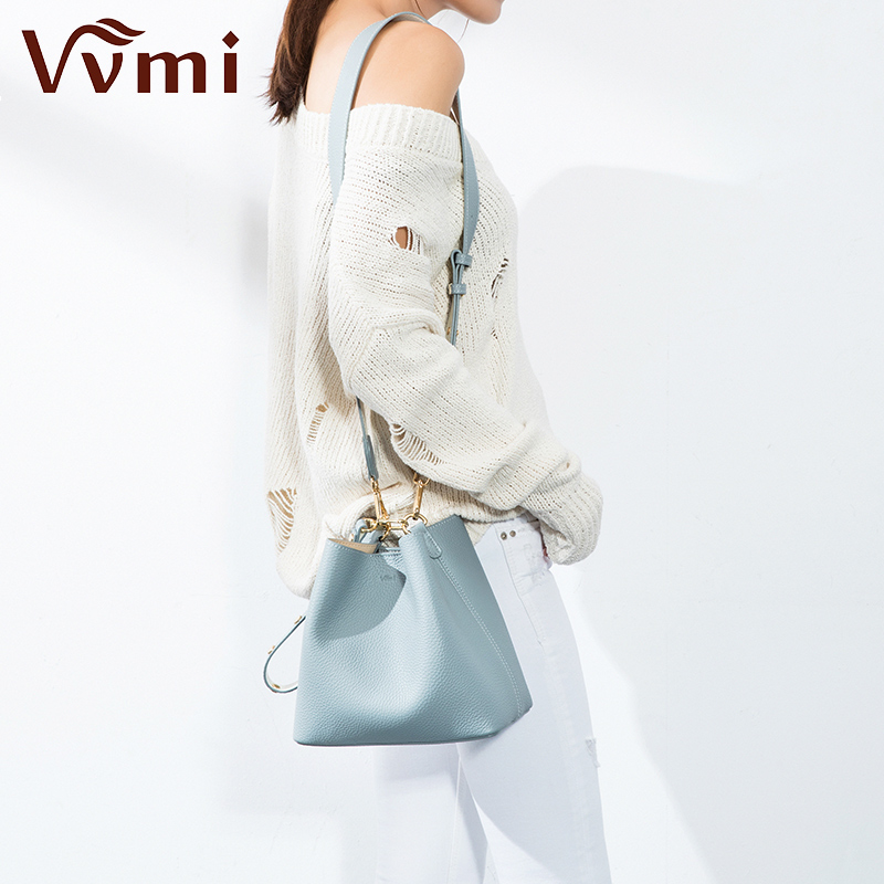 Vvmi genuine Leather women bucket bag Shoulder bag with wide shoulder straps leather messenger Bags handbags Crossbody bags bucket bags women genuine leather handbags female new wave wild messenger bag casual simple fashion leather shoulder bags