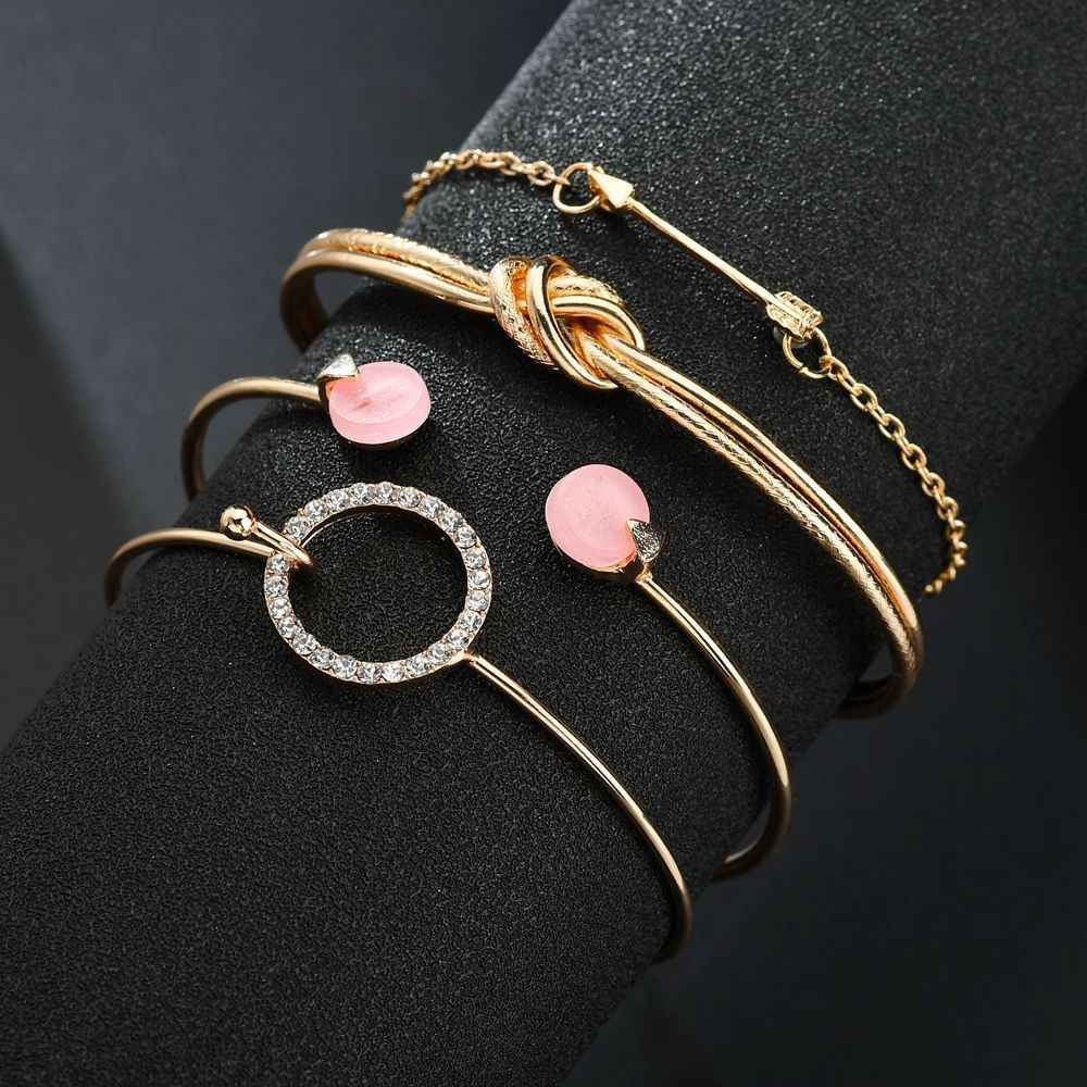4 Pcs/ Set Classic Arrow Knot Round Crystal Gem Multilayer Adjustable Open Bracelet Set Women Fashion Party Jewelry Gift