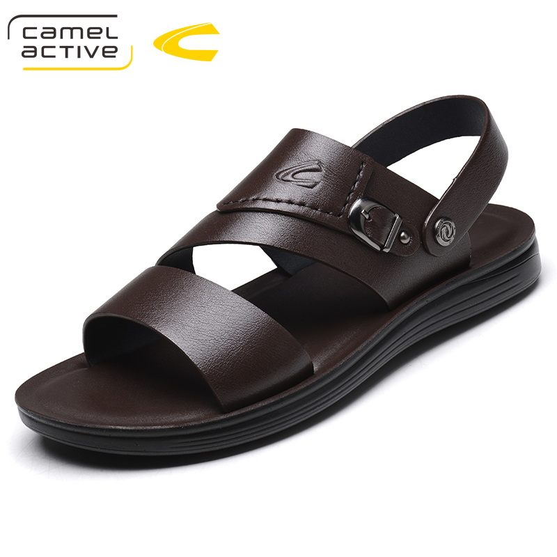 Camel Active Summer Men Sandals Gunuine Leather Classics Breathable Non-slip Flats Sandals Open Toe Slip-on Casual Shoes 18118