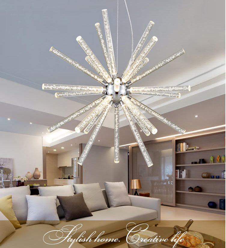 Nordic Style Bubble column crystal ball led pendant lamp frosted Clear Droplight Fixture Lamparas for Restaurant Living Room