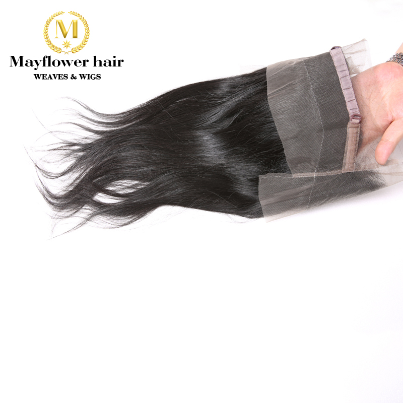 Mayflower Virgin Straight Hair 360 Bang Frontal Swiss Lace Size 22