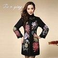 Китайская традиционная одежда женщин шерсти вышитые пальто 2015 осень и зима новый старинные королевская вышивка пальто женщина