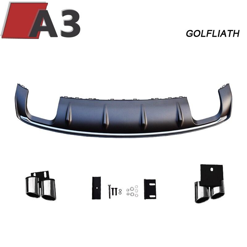 Golfliath для A3 8 В задний диффузор S3 Стиль pp задний для губ с 4 выпускной советы подходят для audi A3 4 Двери Седан 2012 2015