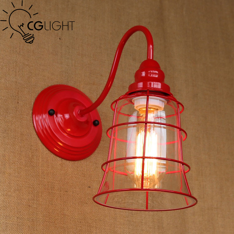 Red wall light iron frame fitting E27 bulbs home coffee bar art decoration use beautiful color simple modern antique design - MM Lighting Factory store