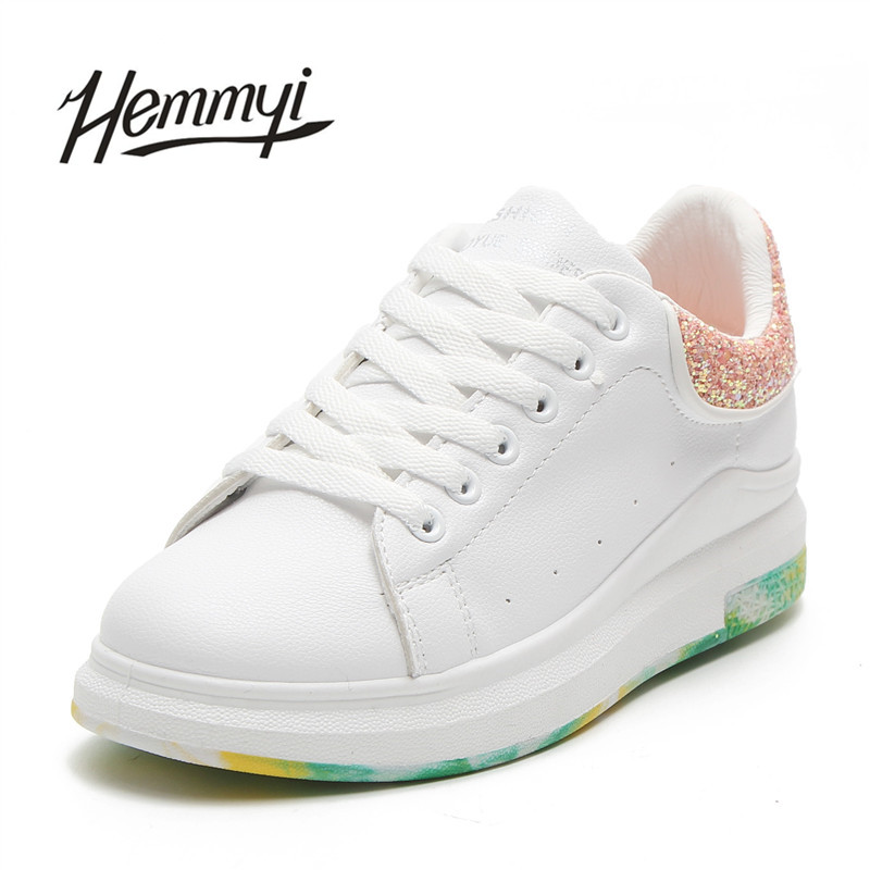 Hemmyi 2018 Spring New Women White Shoes Colorful Bottom Sequins Heighten Platform Sneakers Female Tenis Feminino Basket Femme glowing sneakers usb charging shoes lights up colorful led kids luminous sneakers glowing sneakers black led shoes for boys
