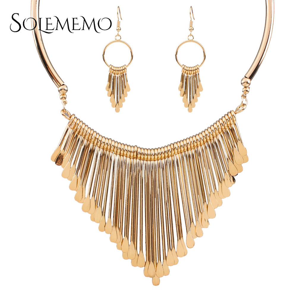 Solememo brand gold triangle colar jewelry sets women for Jh jewelry guarantee 2 years
