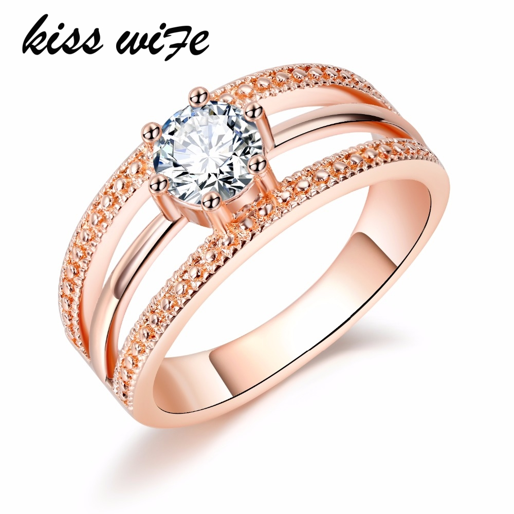 KISS WIFE Austrian Crystal Ring Rose Gold Color anelli Flower Ring anel anillos Engagement Rings for Women wedding ring