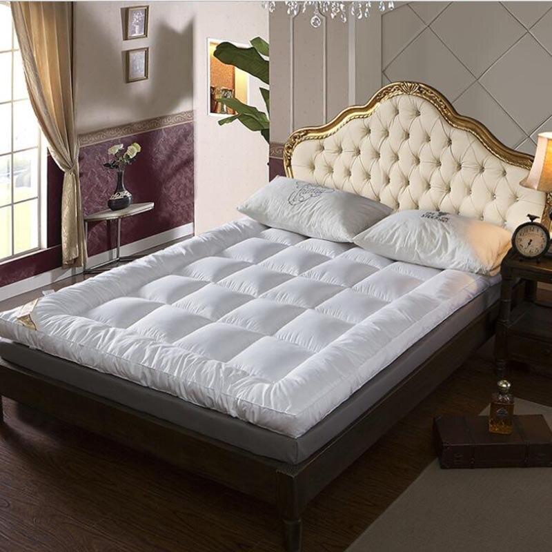NEW Bed White Beige Gray Pink Thickening Folding Luxury Goose Down Fiber Mattress Topper Cotton