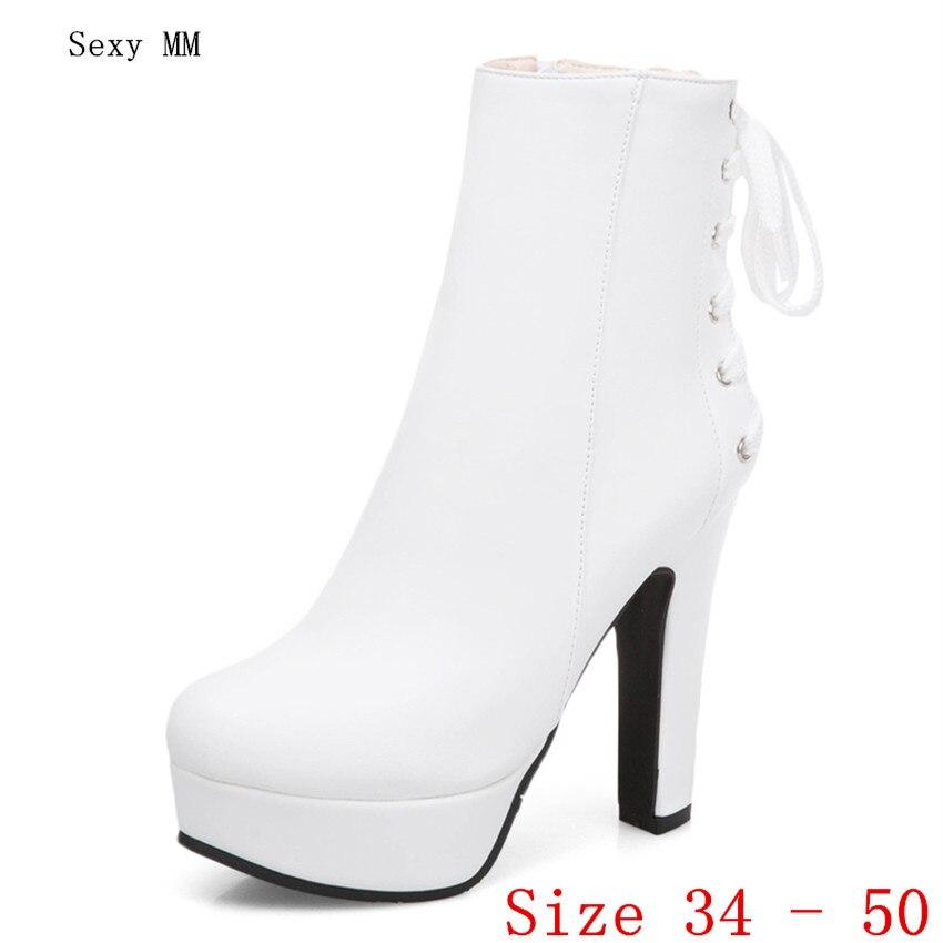 Spring Autumn Women Platform Ankle Boots Woman Short Boots High Heel Shoes Plus Size 34 - 40 41 42 43 44 45 46 47 48 49 50