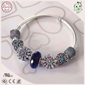 Best Quality Classic 100% 925 Solid Silver  Charm Snake Bracelet With Blue Snowflake Design Real Silver Charms Series For Girls