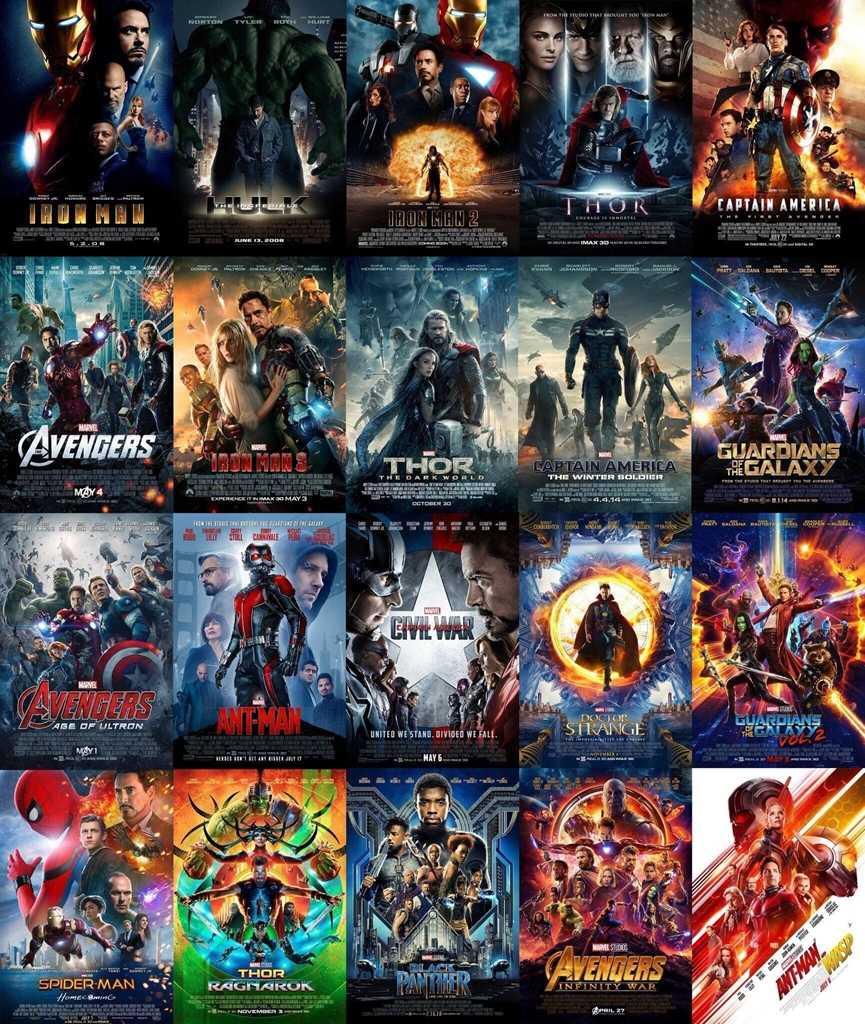 Hot 2008-2019 Marvel Movies 23 Set Poster Marvel Avengers Collection Posters and Prints End Game Canvas Painting Home Decor Art