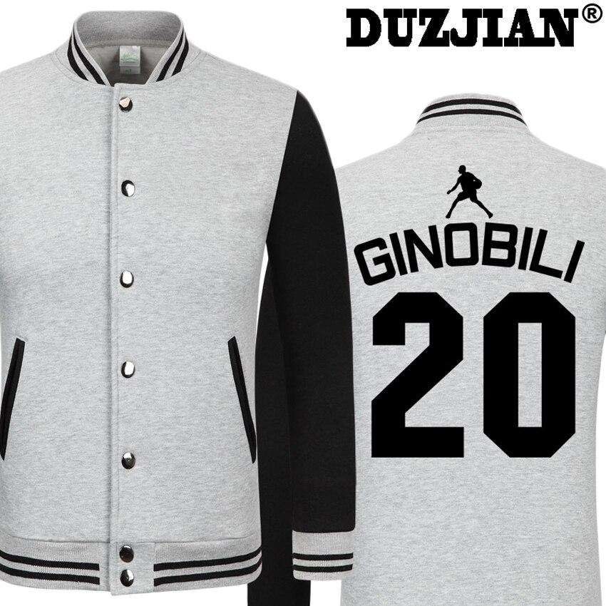 DUZJIAN Spring new Spur Manu Ginobili casual jacket cheap men winter jackets male coat boys jacket hip hopyouth jackets