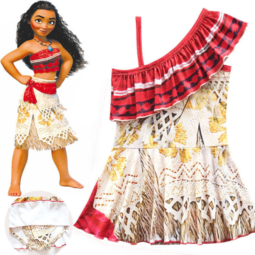 Kids Bathing Suits Girl Dresses One Piece Moana Vaiana -5649