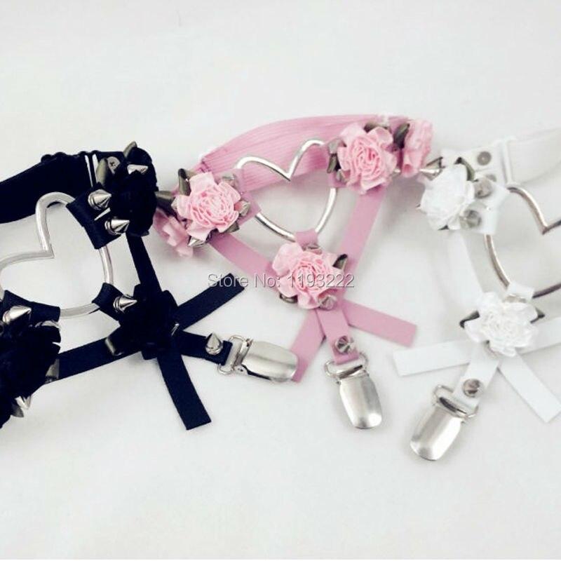 De moda lindo de cuero diseñados arnés de Cruz flor Floral pierna Liga Punk Rock gran corazón picos Liga cinturón anillo
