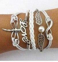 3pcs Best friend gift Infinity love bracelet-pearl wings bracelet-Double heart bracelet--boyfriend 1318 Hot Sales