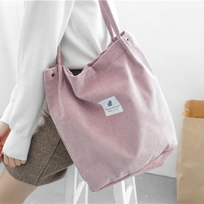 High Capacity Women Corduroy Tote Ladies Casual Shoulder Bag Foldable Reusable Shopping Beach Bag WML99 17