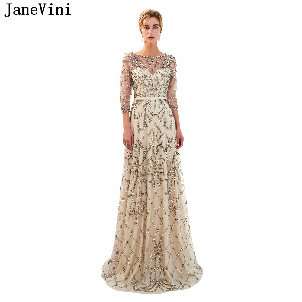JaneVini Vintage Tulle Long   Bridesmaid     Dresses   with Sleeves Floor Length Luxury Beading Illusion Back A Line Formal Prom Gowns