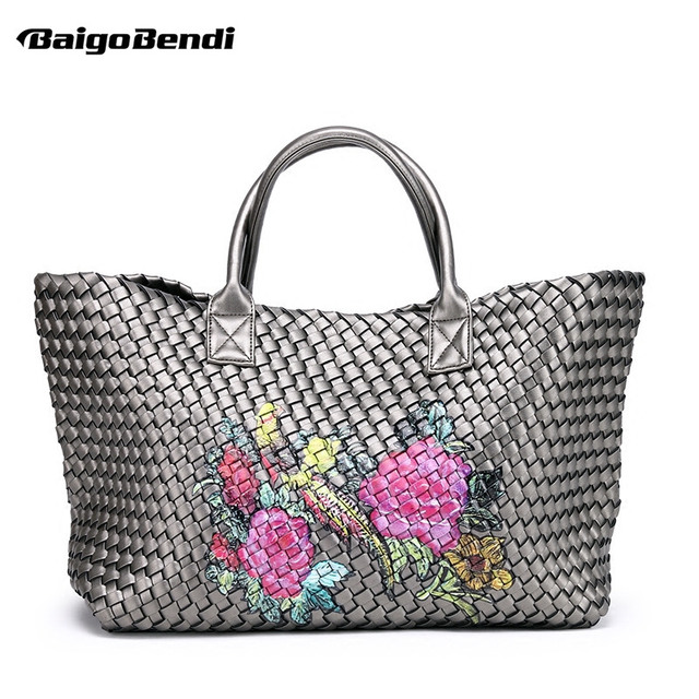 78acc6392656 Brand Ladies Hight Quality Woven Leather Cross Stitch Hobo Graffiti Handbag  Women Large Capacity knitting Bag