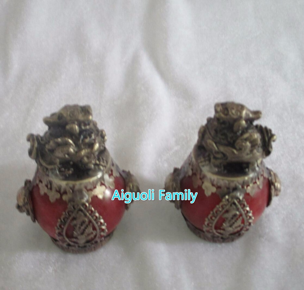 Art collection 1 Pair (2 item) Tibet Silver Red Jade brave troops Statue/Chinese Home Decoration FengShui Pi XiuSculpture