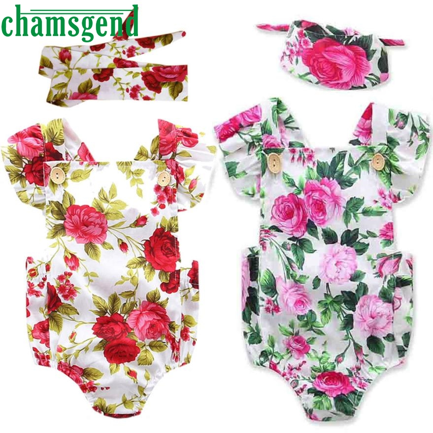 children set clothing Newborn Infant Baby Girls Flowers Print Romper Jumpsuit Headband Outfits Clothes P30 db26 цены онлайн