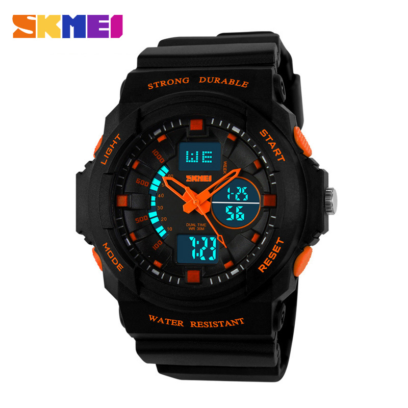 SKMEI Dameshorloges Sport Wrist Herenhorloges Digitale klok bovenaan Dual Display Chrono Dameshorloge Relogio Feminino Outdoor 1008