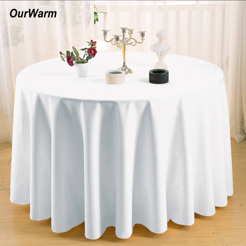 OurWarm 10pcs 90 inch Round Satin Table Covers Tablecloth Black White for Wedding Decoration Banquet Supples