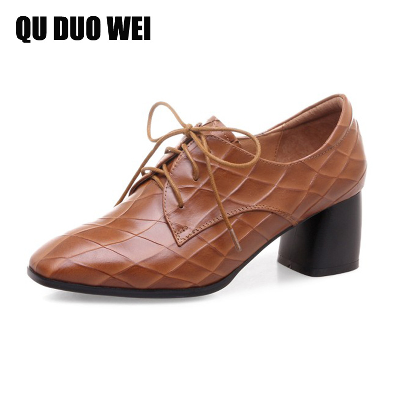 цена на 2018 New Spring Genuine Leather Women Pumps British Style Square Toe Chunky High Heels Shoes Woman Black Brown Pumps Plus Size
