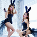 Vocole Adult Women Sexy Black Rabbit Bunny Cosplay Costume Erotic Temptation Spaghetti Strap Bra Mini Dress Shorts Fancy Dress