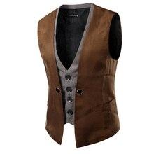2017 new pockets decorate men's fashion suit vest men popular personality plaid patchwork two colors Business Casual Suit Vest