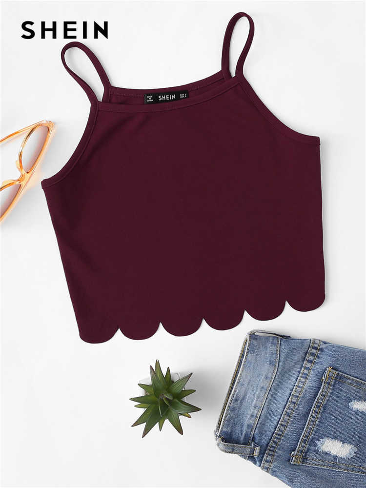 SHEIN Summer Red Tank Crop Top Vest Woman Vacation Casual Scallop Hem Crop Spaghetti Strap Slim Cami Top