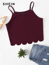 Женский Повседневный жилет SHEIN, красный Облегающий топ на бретелях спагетти с краями, для отпуска, на лето
