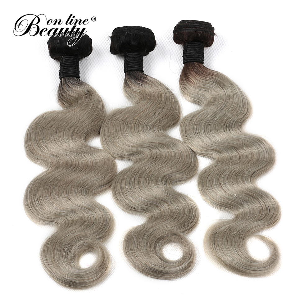 Ombre Brazilian body Hair 3 Bundles 1b/ Grey Human Hair Weave Two Tone Bundles Remy human Hair Extensions Beauty On Line