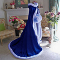 New Royal Blue Floor Length Faux Fur Trim Winter Christmas Bridal Cape Stunning Wedding Cloaks Hooded Long Party Wraps Jacket