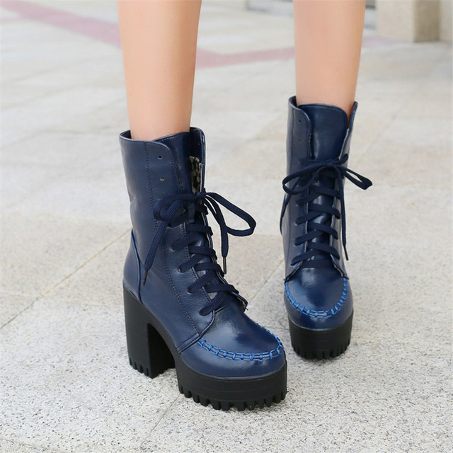 f6d11c5c7418 PXELENA Retro Punk Rock Gothic Platform Chunky Block High Heels Ankle Boots  Women Shoes Lace Up Knight Riding Boots Black Brown
