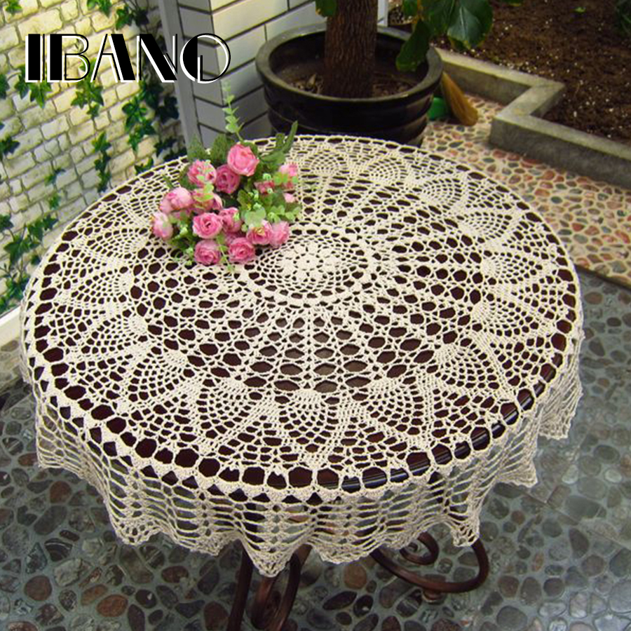 Main fait Au Crochet Sous-verres Coton Dentelle Coupe Tapis De Table 70/80/90 CM RD Shabby Chic Vintage DIY Crocheted Table Cloth