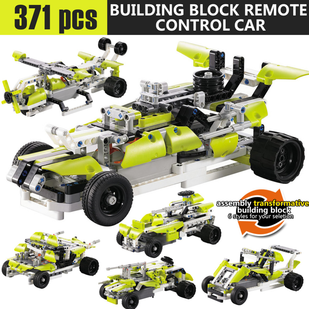 New 371pcs block SDL 2017A-27 2 Channels 10-in-1 DIY Blocking Remote Control Vehicle Car best gift toys wholesale
